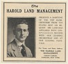 1923 Baritone Harold Land Photo Booking Management Print Ad