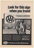 1970 AAA Approved Look for This Sign When You Travel Hotel Room Print Ad