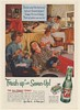 1954 7-Up Girls Slumber Party Playing Records Fresh Up with Seven-Up Print Ad