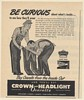 1947 Crown and Headlight Overalls Be Curious About What's Inside Print Ad