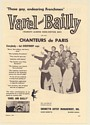 1961 Varel and Bailly with their Chanteurs de Paris Photo Booking Print Ad