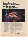 1971 Western Airlines Experience the Magic of Mexico Vacation Tour Print Ad