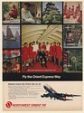 1971 Northwest Orient 747 Pilot Stewardesses Fly the Orient Express Way Print Ad