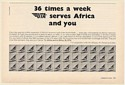 1969 UTA Airlines Serves Africa and You 36 Times a Week Jet Tails Print Ad