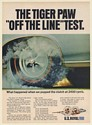 1966 US Royal Tiger Paw Tire Off The Line Test Print Ad