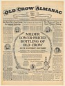 1954 Old Crow Almanac Milder Lower-Priced Bottling Historic Record Whiskey Ad