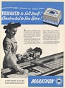 1948 Marathon Linerless Ice Cream Carton Sell Itself Lady Shops Trade Print Ad