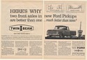 1965 Ford Pickup Truck Twin-I-Beam Suspension 2-Page Print Ad