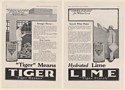 1920 Tiger Hydrated Lime Tiger Masons Mortar Tiger Finish Plaster 2-Page Ad