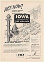 1955 Iowa Gate Valve Fire Hydrant Eliminate Orphans Fire Protection Print Ad