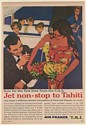 1961 Air France Airlines Hostess Jet Non-Stop to Tahiti Print Ad