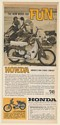 1962 Honda 50 Motorcycle The New Word for Fun Couple on Beach Print Ad
