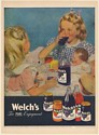 1947 Welch's Grape Juice Little Girls Drink with Dolls Print Ad