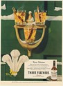 1947 Three Feathers Whiskey Hot Toddies on Door Knocker Warm Welcome Print Ad