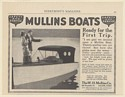 1915 Mullins Boat Couple Ready for First Trip W.H. Mullins Co Salem OH Print Ad