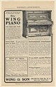1902 Wing & Son Piano For 34 Years a Standard Piano Print Ad
