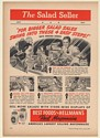 1941 Best Foods Hellmann's Real Mayonnaise Salad Seller Store Displays Trade Ad
