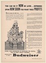 1941 Budweiser Beer Build Grocer Display that Builds Sales Trade Print Ad