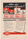 1941 Cream of Wheat Two Sizes Two Kinds Regular and 5-Minute Trade Print Ad