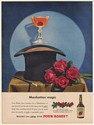 1950 Four Roses Whiskey Manhattan Magic Drink Top Hat Print Ad