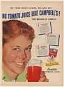 1950 Campbell's Tomato Juice Finest Tomatoes Fresh-Tomato Flavor Print Ad