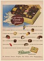 1950 Whitman's Chocolates Sampler Trip Through Candy Heaven Messenger Print Ad