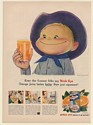 1950 Birds Eye Orange Juice Tastes Better Happy Boy Cowboy Print Ad