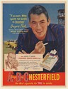 1950 Gregory Peck and Jasper T Carter Chesterfield Cigarette Print Ad