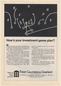 1971 First California Company How's Your Investment Game Plan? Print Ad