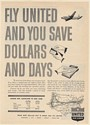 1949 United Airlines Fly You Save Dollars Days Cleveland to NY Fares Print Ad
