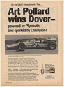 1969 Art Pollard Wins Dover Powered by Plymouth Sparked by Champion Plugs Ad