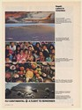 1973 Continental Airlines Hawaii Jet Volcanoes People Food Beach Shells Print Ad