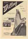 1951 Mildred Dilling Harp Queen of Her Domain Photo Booking Print Ad