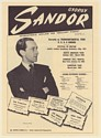 1951 Gyorgy Sandor Pianist Photo Booking Print Ad