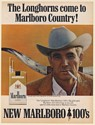 1967 Longhorns Come to Marlboro Country Cowboy Man Smoking 100's Cigarette Ad