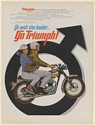 1967 Triumph Bonneville Motorcycle Go with the Leader Male Mars Symbol Print Ad