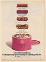 1973 Almond Roca Outrageously Good Candy in a Pretty Pink Tin Print Ad