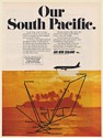 1973 Air New Zealand Airlines Our South Pacific Route Map Print Ad