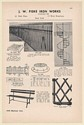 1949 J.W. Fiske Iron Works Wrought Iron Fence Spiral Stairs Park Settee Print Ad