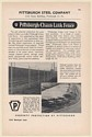 1949 Pittsburgh Steel Chain Link Fence Custodian Guardian Styles Print Ad