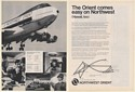 1973 Northwest Orient Airlines 747 Flight Direct to Tokyo 2-Page Print Ad