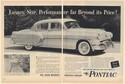 1954 Pontiac Luxury Size Performance Far Beyond Its Price 2-Page Print Ad