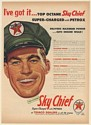 1954 Texaco Sky Chief Super-Charged with Petrox Gasoline Dealer Man Print Ad