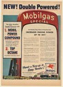 1954 Mobilgas Special Double Powered Gasoline Increases Engine Power Print Ad