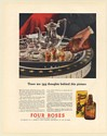 1936 Four Roses Whiskey Served with After Dinner Coffee Print Ad