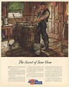 1936 Gulf Oil Industrial Lubrication Secret of Iwar Oom Grease Barrel Print Ad