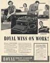 1936 Royal Typewriter Wins on Work Speed Ease Economy Durability Print Ad
