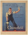 1936 Chesterfield Cigarette Riveter Man Ain't Got Time for Loose Talk Print Ad