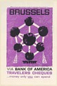 1958 Brussels Atomium Towers World's Fair Bank of America Travelers Cheques Ad