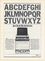 1980 Micom Word Processing Equipment A thru Z is Our Business Print Ad